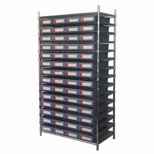 Wire shelving with shelf bins